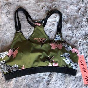 NWT (S) MinkPink Move Army Green Flowers Bra
